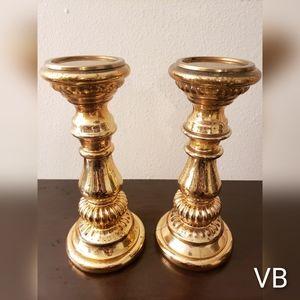 Vintage Burnished Faux Copper Candle Holders